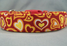 Fun and Funky Hearts on Red Dog Collar