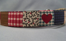 Hearts on Country Patchwork Dog Collar
