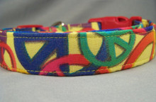 Colorful Peace Signs on Yellow Dog Collar