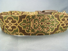 Green and Gold Scroll Dog Collar Rescue Me Collars