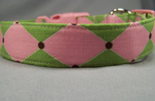 Pink and Green Harlequin Print Dog Collar