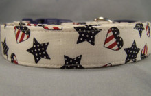 Patriotic Stars and Hearts Dog Collar