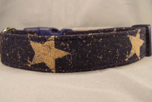Large Stars on Navy Blue Dog Collar
