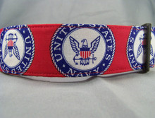 Licensed Fabric US Navy Wide Dog Collar