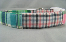 Pastel Madras Plaid Dog Collar