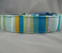 Preppy Striped Blue Dog Collar