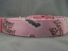 Pink Birthday Dog Collar