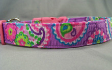Groovy Purple Paisley Dog Collar