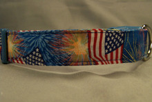 Bursting Fireworks and Flags Dog Collar