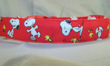 Red Licensed Fabric Snoopy Dog Collar Rescue Me Collars