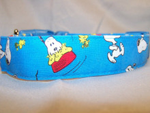 Blue Licensed Fabric Snoopy Dog Collar