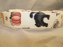 Folk Art Cream Halloween Dog Collar Rescue Me Collar