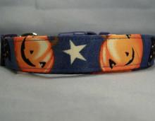 Smiling Pumpkins on Denim Blue Halloween Dog Collar Rescue Me Collar