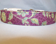 Elegant Leaf Scroll on Purple Dog Collar