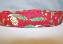 Pine Boughs on Red Holiday Dog Collar