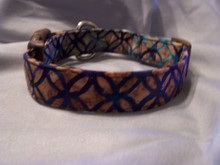 Blue and Brown Batik Dog Collar Rescue Me Collar