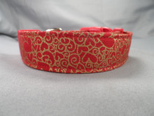 Gold Foil Hearts on Red Valentine Dog Collar www.rescuemecollars.com