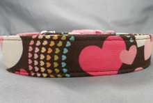 Hearts and Rainbows on Chocolate Brown Dog Collar www.rescuemecollars.com