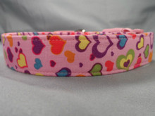 Colorful Hearts on Pink Dog Collar www.rescuemecollars.com