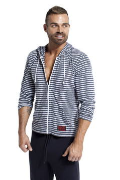 Jack Adams Urban Hoodie - Black with White Heather Stripes