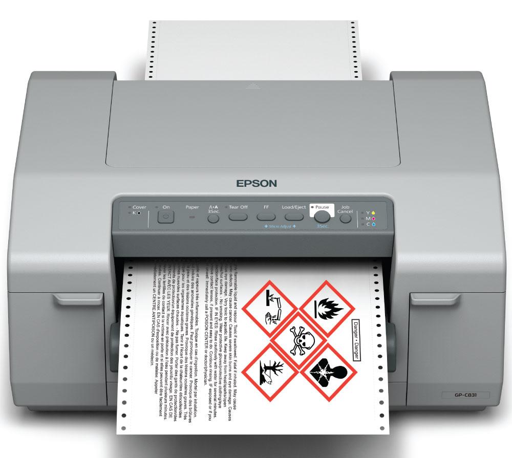 Finance your Epson GP-C831 GHS color label printer from DuraFastLabel.ca