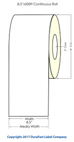 """Afinia L801 Memjet 8.5""""x500 ft Continuous Matte (Paper) Label Roll"""