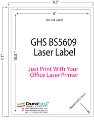 "8""x10.5"" GHS BS5609 Sheet Chemical Label 250/Pack"