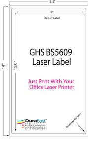 "8""x13.5"" GHS BS5609 Sheet Chemical Laser Label 250/Pack"