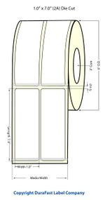"""Inkjet 1""""x7"""" NP (2 UP) Blk Eyemark High Gloss Paper Labels 720/Roll"""