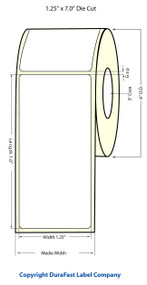 "Inkjet 1.25""x7"" NP (1.5"" media width) High Gloss Paper Labels"