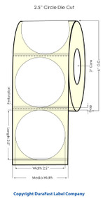 "Inkjet 2.5"" Circle (0.25 GAP) Blk Eyemark High Gloss Paper Labels"