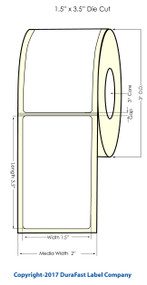 "Inkjet 1.5""x3.5"" NP (0.25 gap) Matte Polypropylene Labels"
