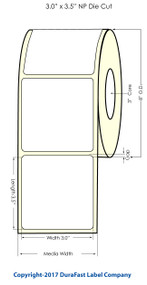 "Inkjet 3""x3.5"" NP (0.25 gap) Glossy Polypropylene Labels 1400/Roll"