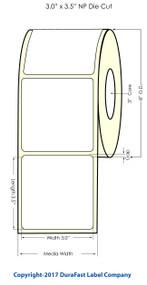 "Inkjet 3""x3.5"" NP (0.25 gap) Matte Polypropylene Labels"