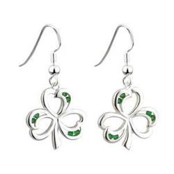 Sterling Silver Green Crystal Shamrock Drop Earrings - 5390497076691