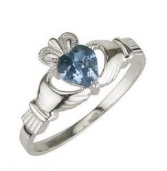 Solvar March Birthstone Ring
