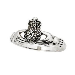 Solvar Marcasite Claddagh Ring