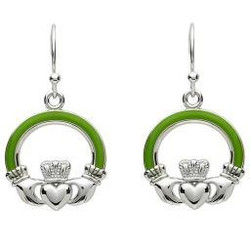 Green Enamel Large Claddagh Earrings