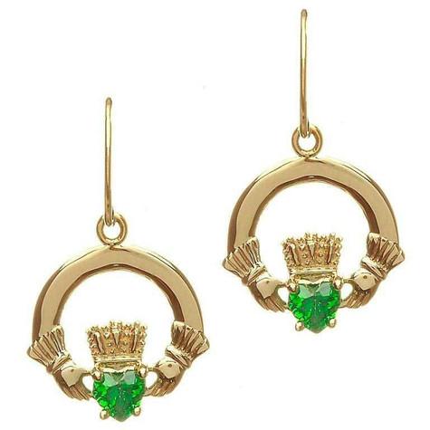 10 Karat Gold Claddagh Earrings Irish Gold Jewelry