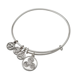 Rhodium Spiral Charm Bangle Bracelet