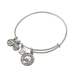 Antique Silver Plated Claddagh Charm Bangle Bracelet by Solvar