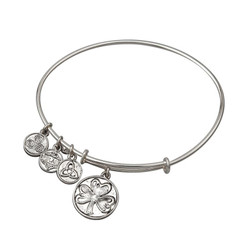 Silver Plated Claddagh Charm Bangle Bracelet by Solvar