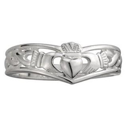 Sterling Silver Claddagh Wishbone Ring by Solvar