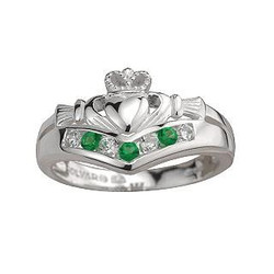 Sterling Silver Claddagh Wishbone Ring with Emerald and CZ