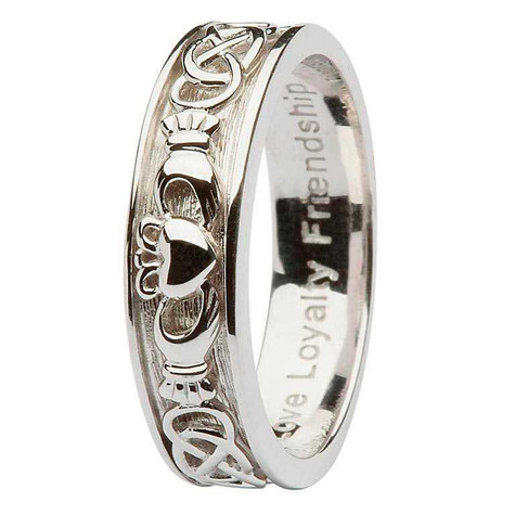 Ladies Sterling Silver Claddagh Celtic Wedding Ring