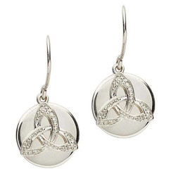 Celtic Trinity Knot Diamond Set Earrings by Shanore