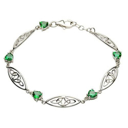 Silver Celtic Stone Set Trinity Bracelet by ShanOre