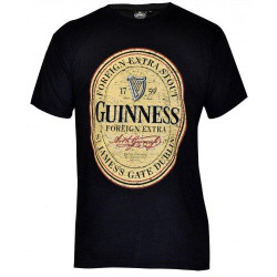 GUINNESS Black Distressed English Label Tee