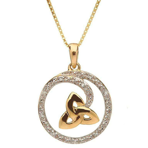 10k gold pendant w diamond trinity knot irish jewelry 10 karat trinity knot pendant with diamond aloadofball Gallery