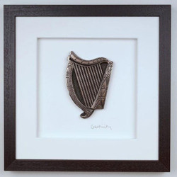 Framed Bronze Irish Harp - Made in Ireland by Artists Wild Goose Studio